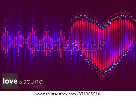 Music equalizer in form of heart. - stock vector