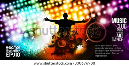 Music event illustration. Background for new year poster party, vector - stock vector