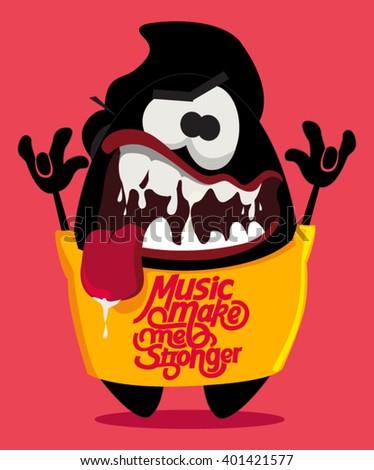 music fan. monster vector design