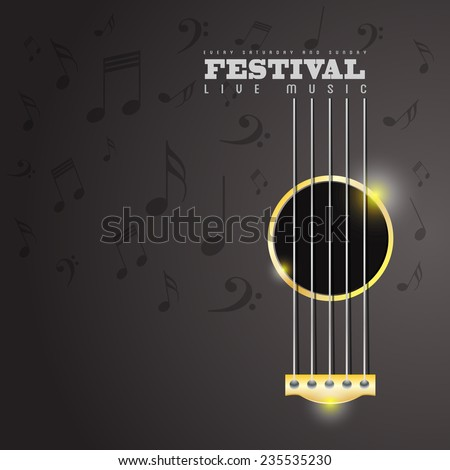Music Festival poster concept with guitar shape - stock vector