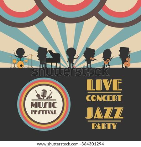 music festival poster, retro revival - stock vector