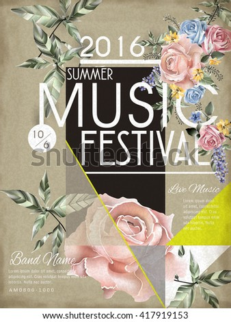 music festival poster template design with floral element