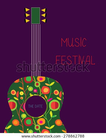 Music festival poster with guitar and flowers - stock vector