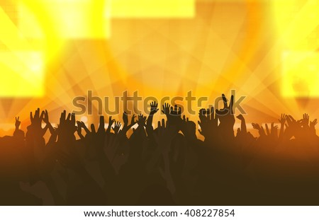 Music festival with dancing people and glowing lights. Creative illustration. - stock vector