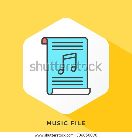 Music file icon with dark grey outline and offset flat colors. Modern style minimalistic vector illustration for converting online, all audio formats and files. - stock vector