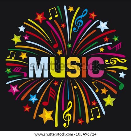 music firework (music design) - stock vector
