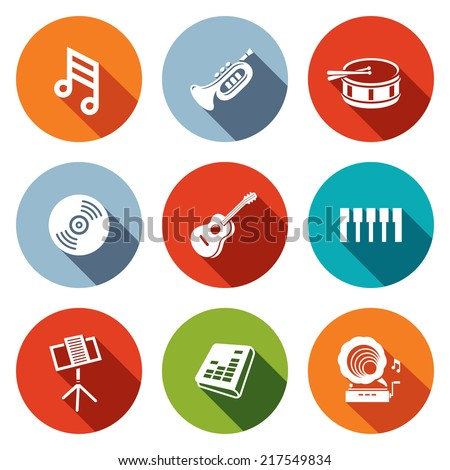 Music flat icons set  - stock vector