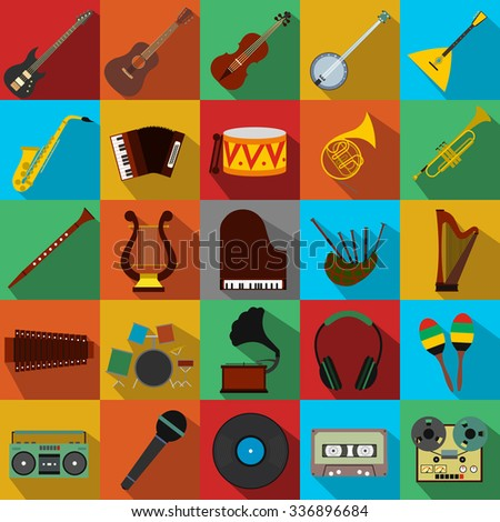 Music flat icons set for web and mobile device - stock vector
