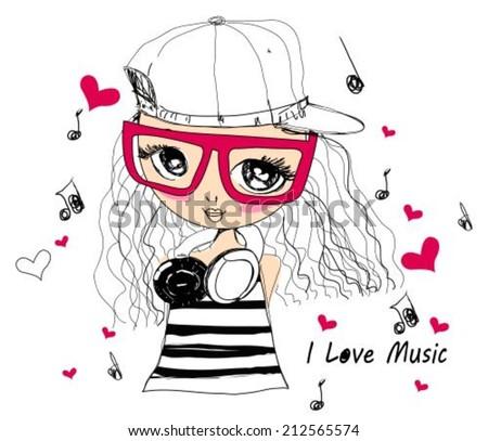 Music girl - stock vector