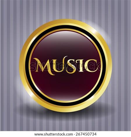 Music gold shiny emblem - stock vector