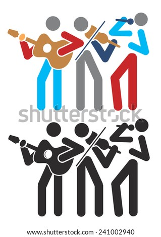 Music group Music group with guitarist, singer and violinist.Vector illustration.  - stock vector