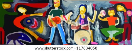 music group, painting - stock vector