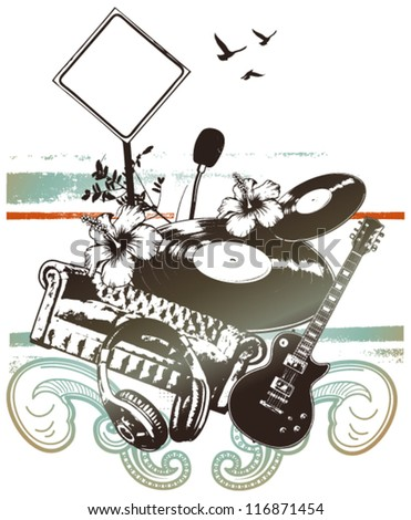 music grunge poster with objects - stock vector