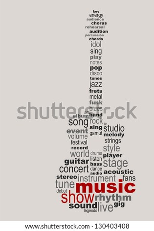 Music guitar concept - easy colors change by selecting same fill color - stock vector