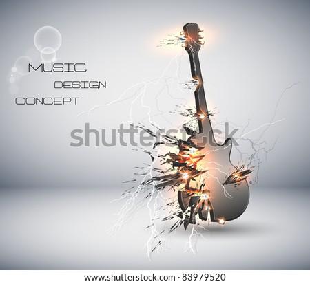 Music Guitar explosive background, easy editable - stock vector