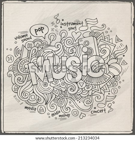 Music hand lettering and doodles elements background. Vector illustration - stock vector