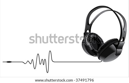 music headphones - stock vector