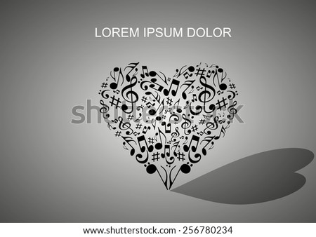 music heart concept. love music concept.melody of love logo.Abstract musical heart background. - stock vector