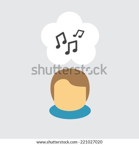 Music icon - stock vector