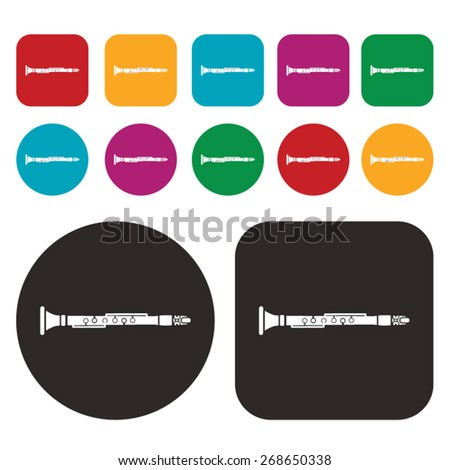Music icon / clarinet icon - stock vector