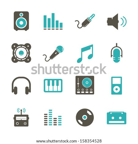 Music Icon - Color - stock vector