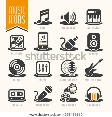 Music icon set - stock vector