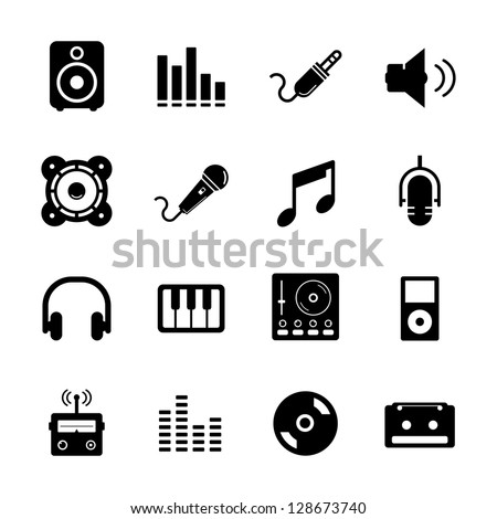 Music Icon set Black and White - stock vector