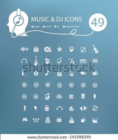 Music icon set,vector - stock vector