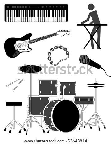 music icon set, vector illustration - stock vector