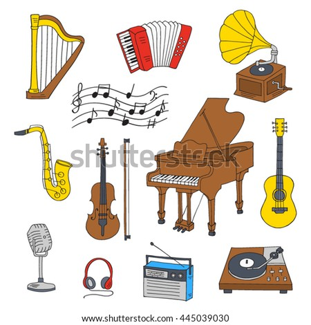 Old Microphone Music Notes Hand Drawn Stock Vector ...
