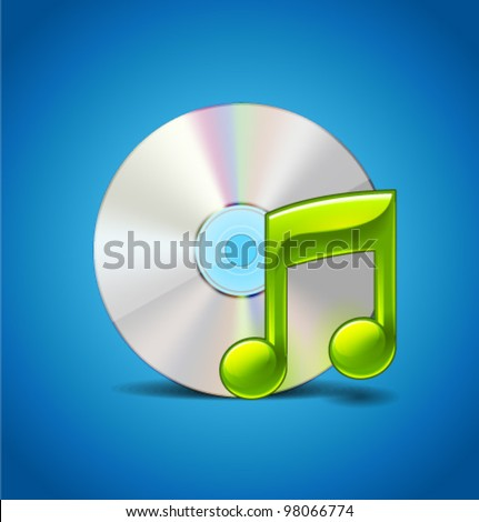 Music Icon With CD - stock vector