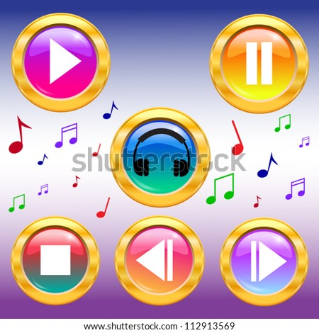 Music icons buttons set. play pause buttons. Vector illustration.