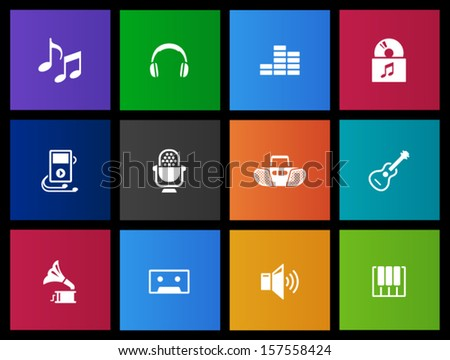 Music icons in Metro style - stock vector