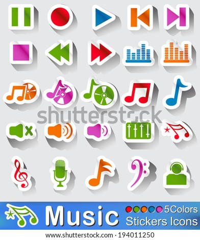 Music icons or sticker with five color