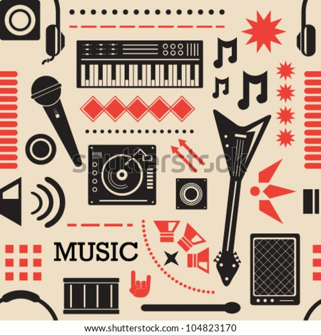 Music Icons Seamless Background - stock vector