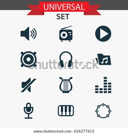Music Icons Set Collection Mike Silence Stock Vector 626277653