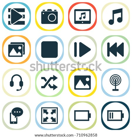 Music Icons Set. Collection Of Slow Forward, Musical Note, Headset And Other Elements. Also Includes Symbols Such As Tablet, Mobile, Gallery.