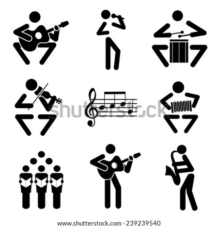 Music icons. Set of black illustrations of musical notes and musicians. Vector illustration.  - stock vector