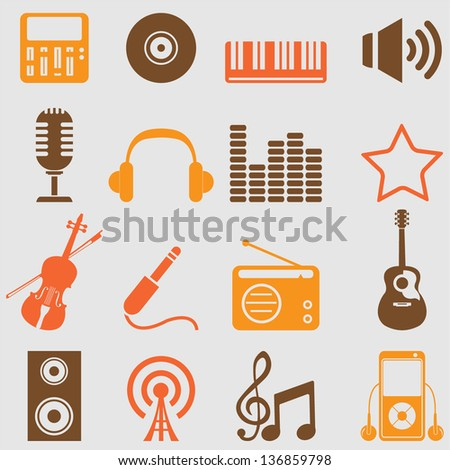 Music icons set.Vector - stock vector