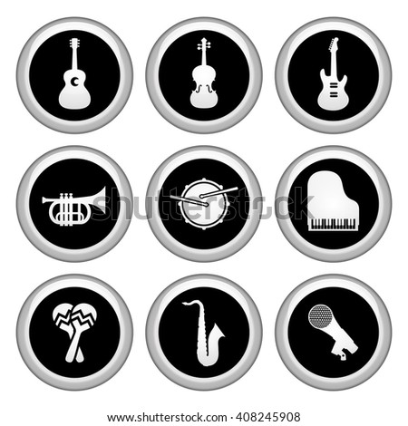 Music Icons Silver Icon Set - stock vector