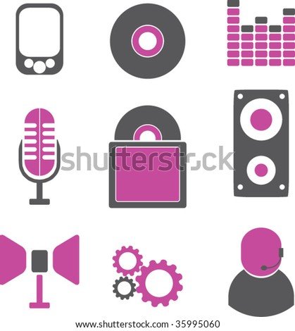 music icons. vector - stock vector
