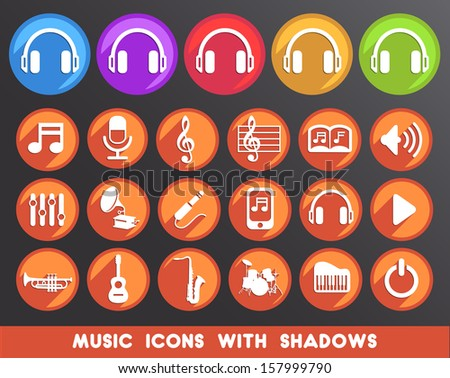 Music Icons with Shadows.  - stock vector