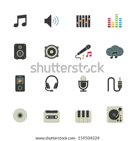 Music Icons with White Background - stock vector