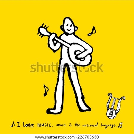 music illustration / hand drawn in vector / yellow background version