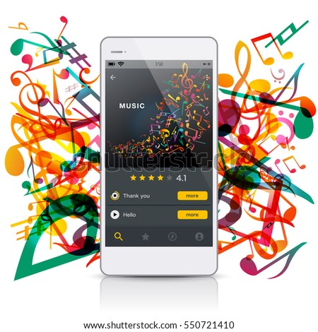 music image mobile phone, vector illustration