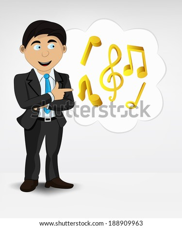 music in bubble idea concept of man in suit vector illustration