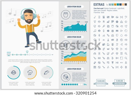 Music infographic template and elements. The template includes illustrations of hipster men and huge awesome set of thin line icons. Modern minimalistic flat vector design. - stock vector