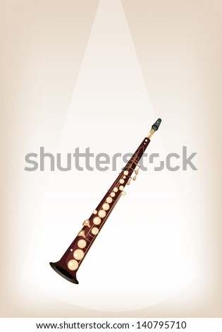 Music Instrument, An Illustration Brown Color of Golden Vintage Soprano Saxophone on Brown Stage Background with Copy Space for Text Decorated  - stock vector