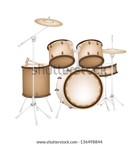 Music Instrument, An Illustration of A Set of Retro Style Jazz Drum Kit on White Background - stock vector