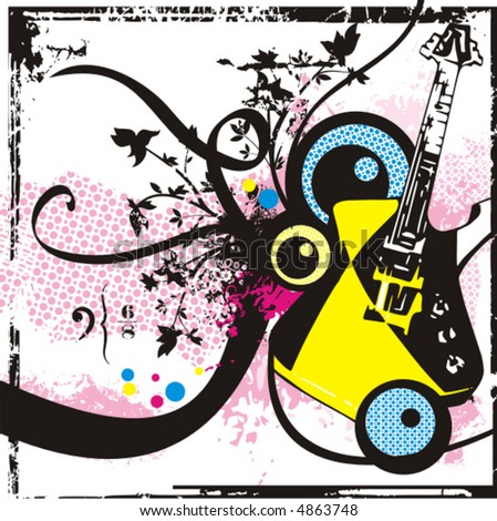 Music instrument background series, vector illustration an electric guitar with grunge details. - stock vector